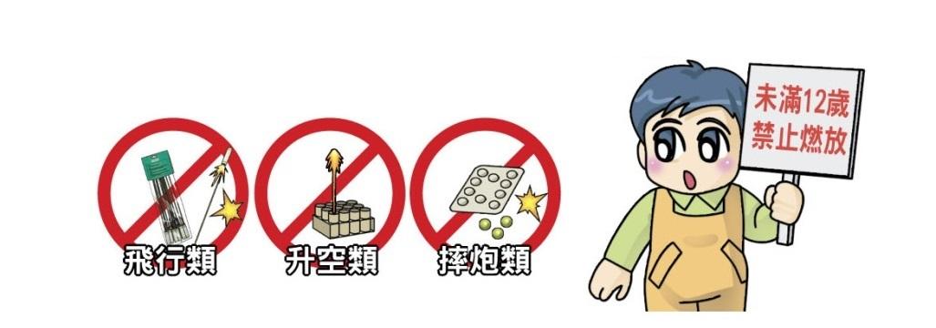 不可讓兒童施放飛行類、升空類及摔炮類產品
