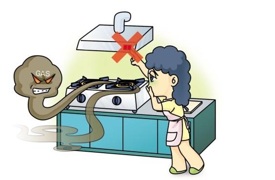避免碰撞及打開電源(如照明設備或電扇等)以免產生火花